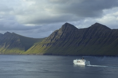 Dänemark,Färöer Inseln,Eysturoy,Kalsoy,Leirviksfjord,Leirvik,Fähre Norrönna von Smyril Line auf der Fahrt nach Island,Denmark, Faroe Islands, Eysturoy, Kalsoy, Leirvik Fjord, Leirvik, Norröna ferry from Smyril Line on the way to Iceland,